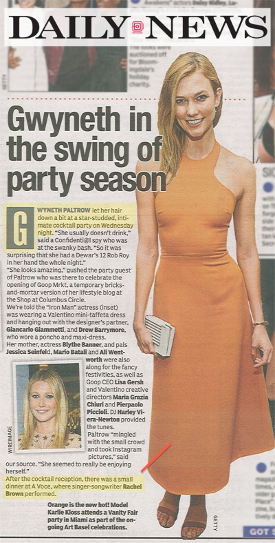 Daily News - Performance for Gwyneth Paltrow's Goop x Valentino Dinner