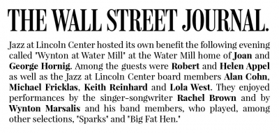 Wall Street Journal - Jazz at Lincoln Center